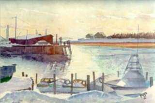 Watercolor by Aarne Parker: Kennebunkport, Maine -- Boats, represented by Childs Gallery
