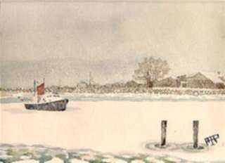 Watercolor by Aarne Parker: Rye Harbor, New Hampshire, represented by Childs Gallery