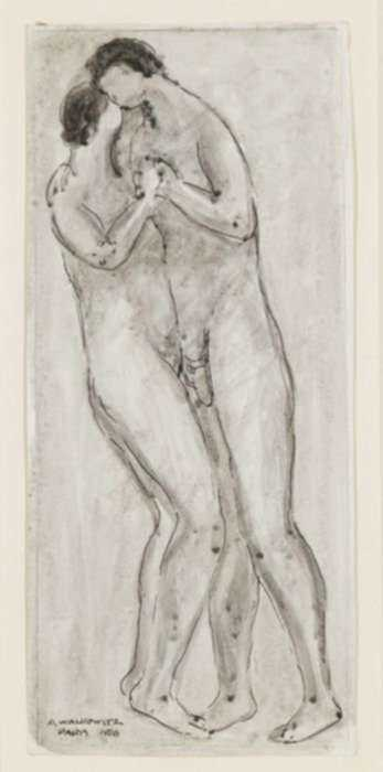 Drawing by Abraham Walkowitz: Nude Couple Kissing, represented by Childs Gallery