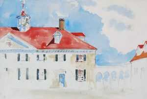 Watercolor By Adam Van Doren: Mount Vernon From Front (george Washington) At Childs Gallery