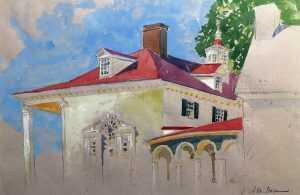 Watercolor By Adam Van Doren: Mount Vernon Palladian Window (george Washington) At Childs Gallery