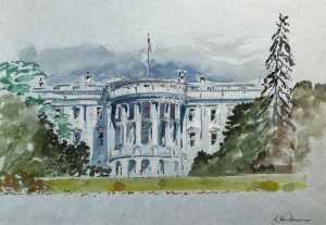 Watercolor By Adam Van Doren: White House With Trees At Childs Gallery