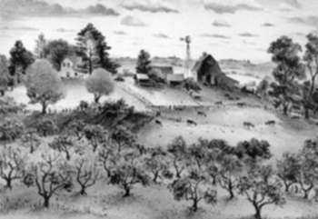Print by Adolf Dehn: Nice Summer Day or A Fine Day on the Farm [probably Minnesot, represented by Childs Gallery