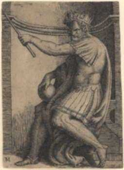 Print by after Marcantonio Raimondi, Italian (1480-1534): A Seated Emperor [after Raphael Sanzio (1483-1520)], represented by Childs Gallery