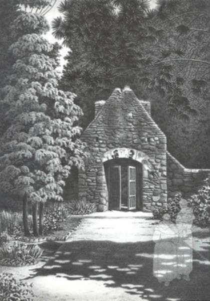 Print by Alan Crane: Haunted Garden, Mexico, represented by Childs Gallery