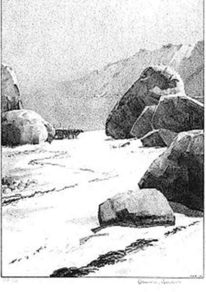Print by Albert Barker: Lambert's Cove [Martha's Vineyard, Massachusetts], represented by Childs Gallery