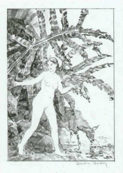 Print by Albert Barker: Young Artemis, represented by Childs Gallery