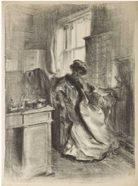 Print by Albert Belleroche: Mrs. H.V. Milbank, Ferby Lodge, represented by Childs Gallery