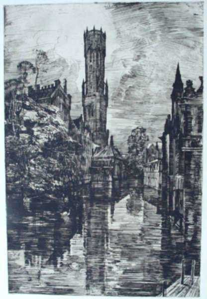 Print by Albert Decaris: Bruges (Bruges I), represented by Childs Gallery
