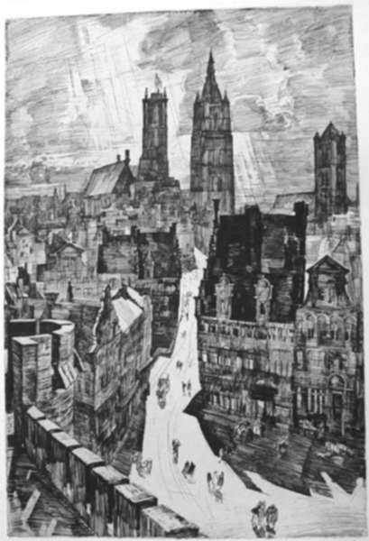 Print by Albert Decaris: Gand (Gand - Trois tours) [Ghent], represented by Childs Gallery