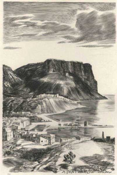 Print by Albert Decaris: Nouveaux Méandres: Cassis, represented by Childs Gallery