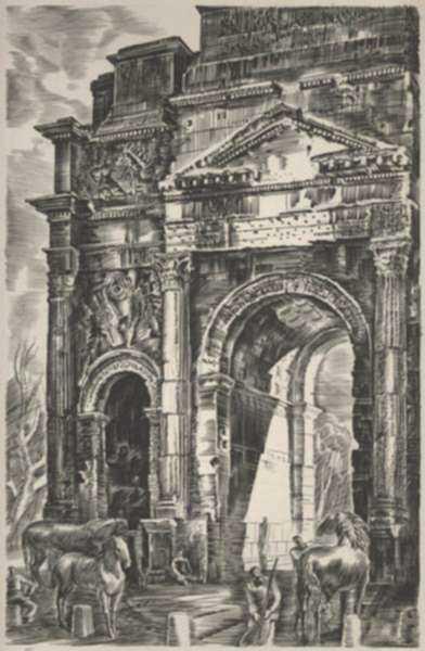 Print by Albert Decaris: Nouveaux Méandres: L'Arc de Triomphe - Orange, represented by Childs Gallery