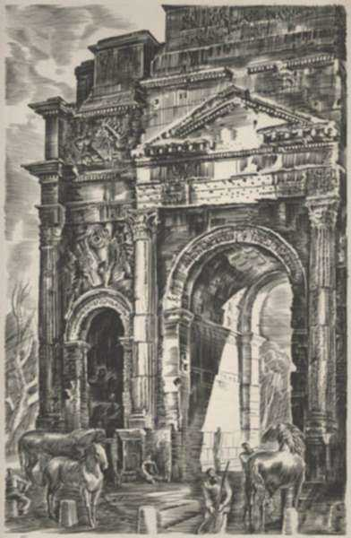 Print by Albert Decaris: Nouveaux Méandres: L'Arc de Triomphe - Orange, represented by Childs Gallery