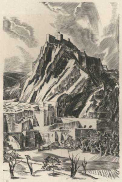 Print by Albert Decaris: Nouveaux Méandres: Sisteron, represented by Childs Gallery