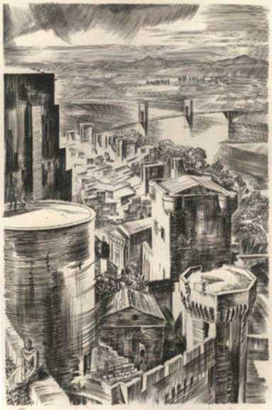 Print by Albert Decaris: Nouveaux Méandres: The Rhone at Avignon, represented by Childs Gallery