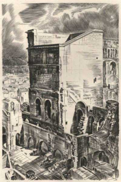 Print by Albert Decaris: Nouveaux Méandres: The Roman Theatre - Orange, represented by Childs Gallery