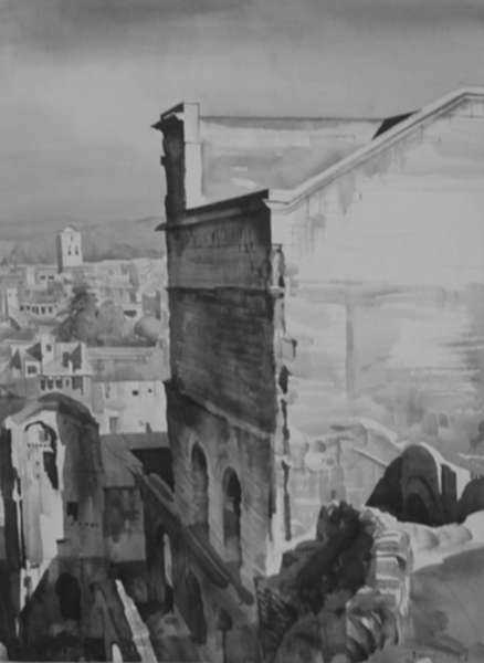Drawing by Albert Decaris: The Great Wall and the Town of Orange - Morning [Southern Fr, represented by Childs Gallery