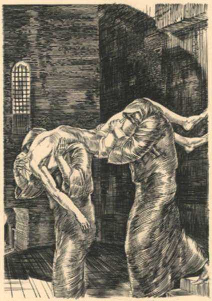 Print by Albert Decaris: The Prison Morgue, represented by Childs Gallery