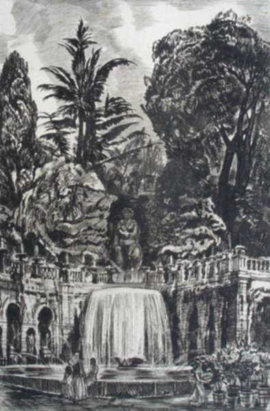 Print by Albert Decaris: Villa d' Este - Grande cascade, represented by Childs Gallery