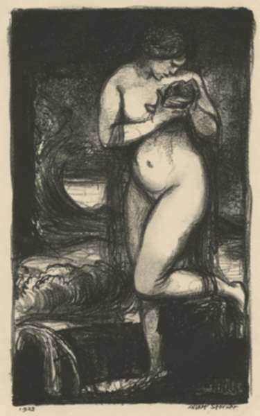 Print by Albert Sterner: [Standing Model with Vase], represented by Childs Gallery