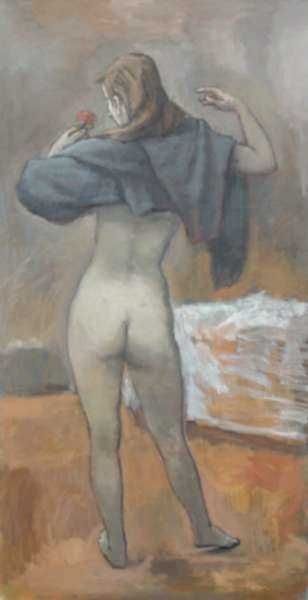 Painting by Alexander Brook: [Nude with Rose], represented by Childs Gallery