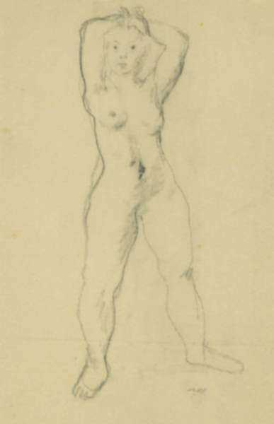 Drawing by Alexander Brook: [Standing Nude], represented by Childs Gallery