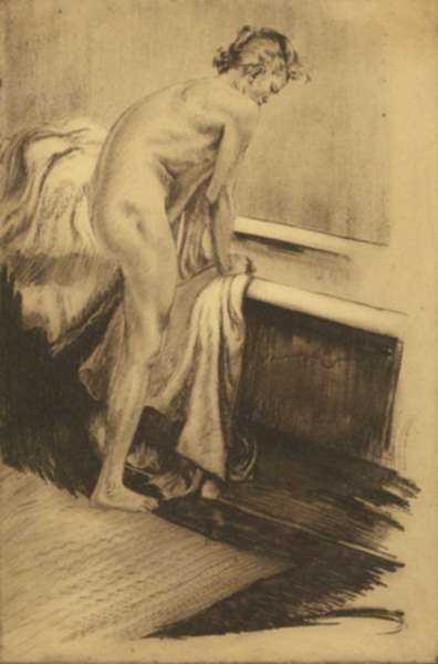 Print by Alois Kolb: [Woman at the Tub], represented by Childs Gallery