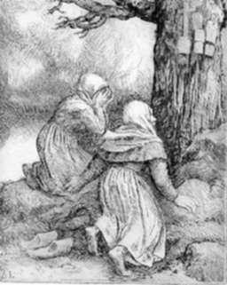 Print by Alphonse Legros: L'artre de Saint, represented by Childs Gallery