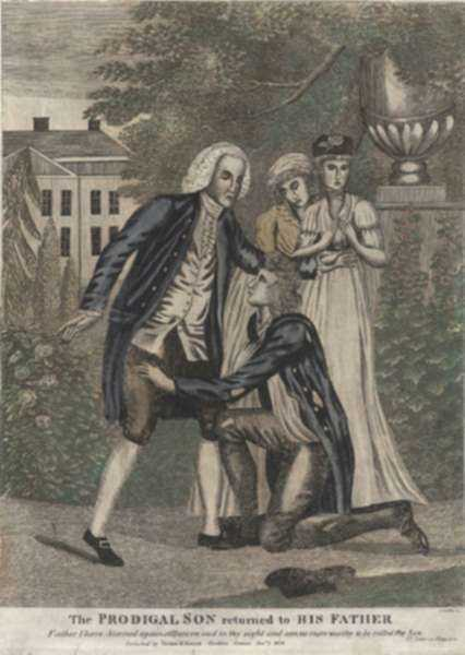 Print by Amos Doolittle: The Prodigal Son Returned to His Father, represented by Childs Gallery
