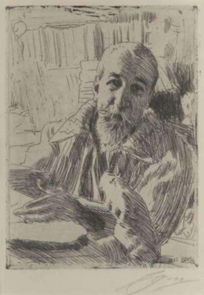 Print by Anders Zorn: Anatole France, represented by Childs Gallery