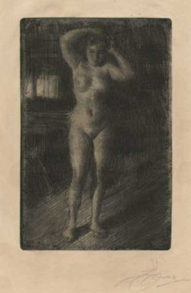 Print by Anders Zorn: Anna Se Coiffant, represented by Childs Gallery