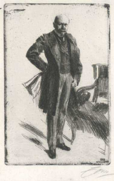 Print by Anders Zorn: Colonel Lamont I, represented by Childs Gallery