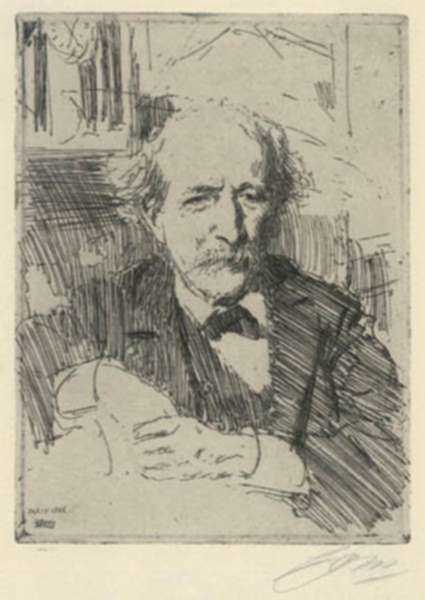 Print by Anders Zorn: Marcellin Berthelot, represented by Childs Gallery