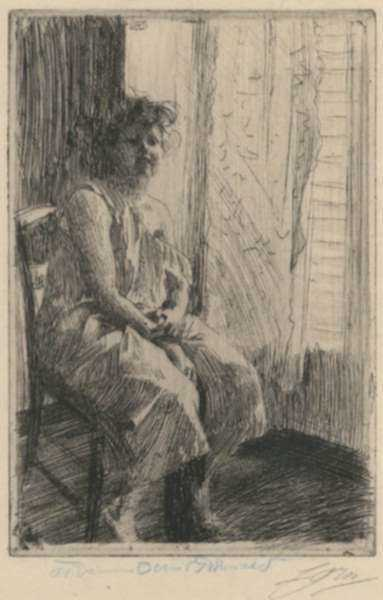Print by Anders Zorn: Morning, represented by Childs Gallery