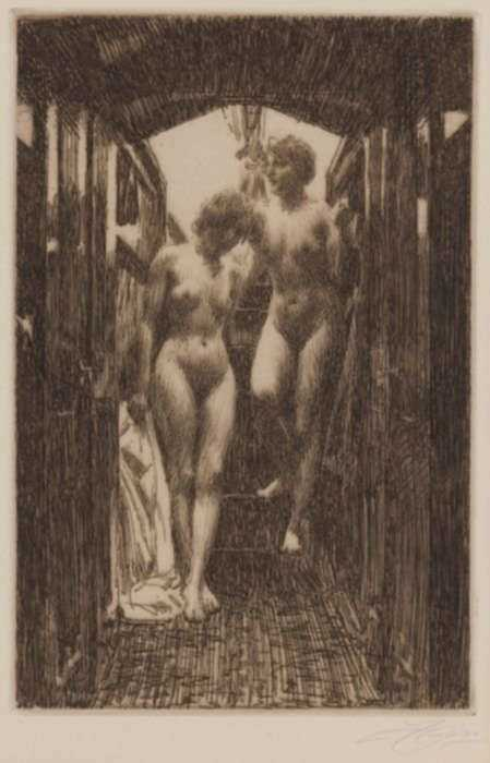 Print by Anders Zorn: The Cabin, represented by Childs Gallery