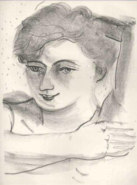 Print by André Derain: Tête de femme légèrement baissée, une main posée sous le bra, represented by Childs Gallery