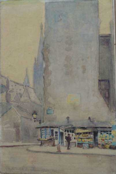 Watercolor by Anita Willets-Burnham: [Corner Store, Journaux, Paris], represented by Childs Gallery