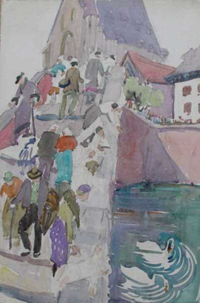 Watercolor by Anita Willets-Burnham: [Crossing the Swan Bridge, Chicago Worlds Fair], represented by Childs Gallery