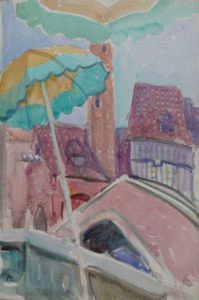 Watercolor by Anita Willets-Burnham: [Rooftops and Parasol, Chicago World's Fair], represented by Childs Gallery