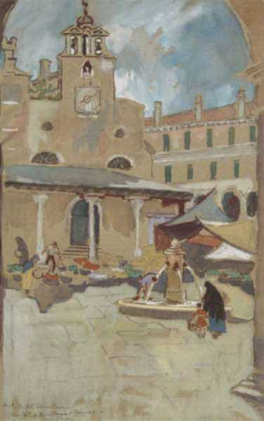 Watercolor by Anita Willets-Burnham: Market and Fountain, Venice, represented by Childs Gallery