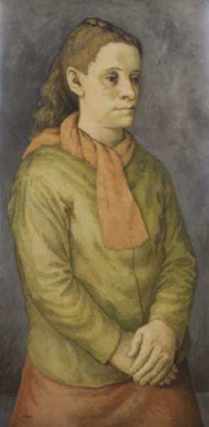 Painting by Anne Lyman Powers: [Woman in Orange and Green], represented by Childs Gallery
