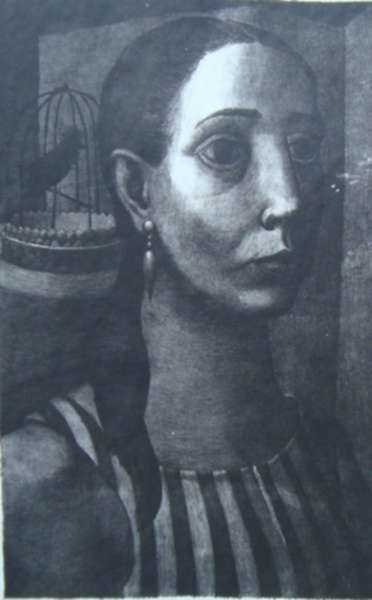 Print by Anne Lyman Powers: [Woman with a Birdcage], represented by Childs Gallery
