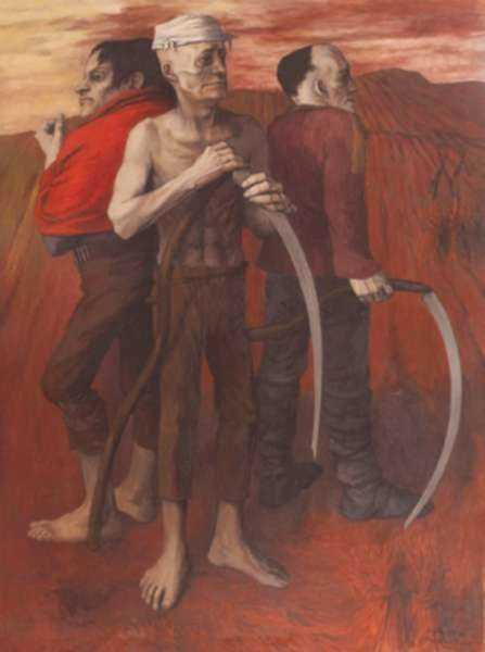 Painting by Anne Lyman Powers: Three War-Time Farmers with Scythes, represented by Childs Gallery
