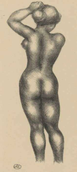 Print by Aristide Maillol: Standing woman seen from the rear adjusting her hair, represented by Childs Gallery