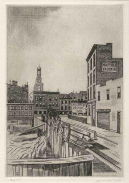 Print by Armin Landeck: Excavation Site, Manhattan, represented by Childs Gallery