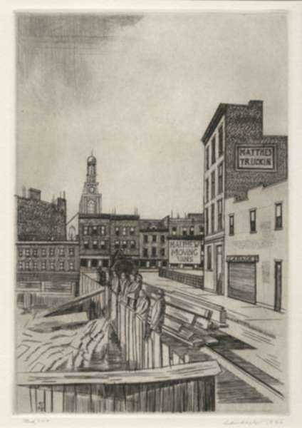 Print by Armin Landeck: Excavation Site, Manhattan, represented by Childs Gallery
