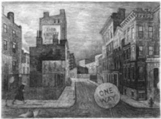 Print by Armin Landeck: One Way Street, represented by Childs Gallery
