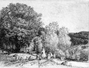 Print by Auguste Lepère: La Promenade de Dimanche Crêve Coeur-le-grand, represented by Childs Gallery