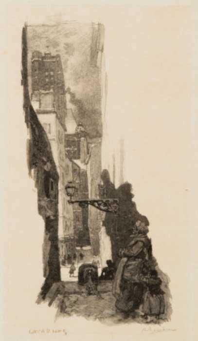 Print by Auguste Lepère: Rue Grenier-sur-lM-^REau, Paris, represented by Childs Gallery