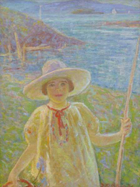 Painting by Beatrice Whitney Van Ness: [Portrait of a Young Girl in Sun Bonnet], represented by Childs Gallery